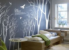 Super Big Tree Wall Decals Trees wall stickers living room decals office wall decors- Love Forest -Vinyl Wall Decals