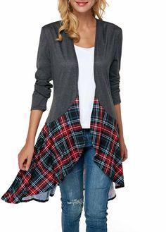 Dark Grey Open Front Cardigan With High Low Plaid Hem Asymmetric Hem Long Sleeve Dark Grey Cardigan Stylish Tops For Girls, Trendy Tops For Women, Cardigan Sweaters For Women, Cardigans For Women, Cheap Sweaters, Cheap Cardigans, Women's Sweaters, Diy Clothing, Fashion Clothes