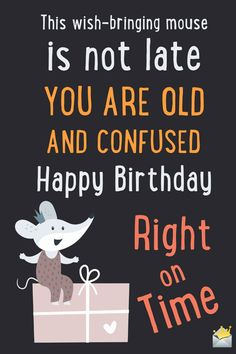 This wish-bringing mouse is not late. You are old and confused. Happy birthday, right on time.