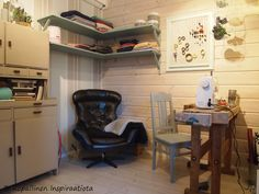 sewing room - crafty room - askarteluhuone - ompelu Corner Desk, Crafty, Sewing, Room, Furniture, Ideas, Home Decor, Corner Table, Homemade Home Decor