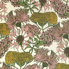 Hello Yarrow Natural Wallpaper | Abigail Borg | Surface Pattern Designer & Floral Illustrator | Traditional Surface Pattern Design