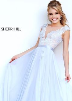 Sherri Hill 11269 Silver Lace Chiffon Gown