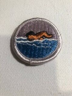 TYPE H BLUE BACKING BOY SCOUT SWIMMING MERIT BADGE NEVER USED MINT