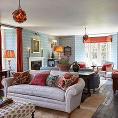 Blue Country House Style Living Room