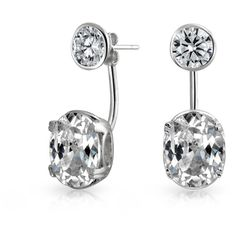Bling Jewelry Bling Jewelry Clear Cz Round Ear Jackets Rhodium Plated... ($17) ❤ liked on Polyvore featuring jewelry, earrings, grey, cz earrings, sterling silver cubic zirconia earrings, rhodium plated earrings, cz jewelry and sterling silver earrings