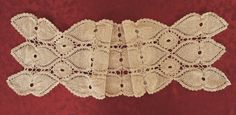 Vintage Crocheted Table Runner Beige With by VintageLinenGallery