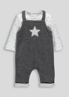 Unisex grey fleece dungaree and bodysuit with star embroidery to chest. White bodysuit with all over grey star print. Adjustable length for dungaree with two...