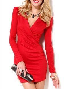 Red V-neck Bodycon Dress With Long Sleeves