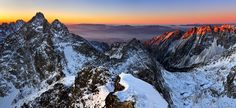 Photo about Sunrise in the High Tatras from the top Rysy in Slovakia Europe - Slovakia - High Tatras - Rysy panorama view. Image of landscape, heaven, hiking - 12773279 High Tatras, Sunrise Mountain, Tatra Mountains, Landscaping Images, Big Country, 3d Texture, Photo Wallpaper, Great View, Wall Murals