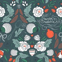 "A festive, seamless hand-illustrated pattern of white roses, teacups, and hand-drawn type. Each sheet measures 20x28"" and wraps a medium to large package. Package of 3 sheets, each sheet is 20"" wide x"