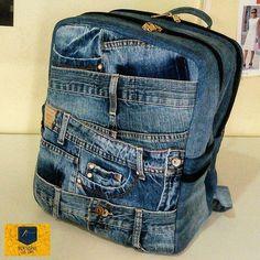 Denim Purse, Denim Outfit, Mochila Jeans, Jean Backpack, Denim Sandals, Denim Art, Denim Crafts, Bag Patterns To Sew, Recycled Denim