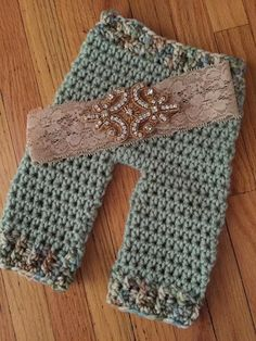 Newborn sage  and tan pant and headband by ShellsBackDoor on Etsy