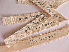 Sew on tags.  Remember these @Ffion Thomas