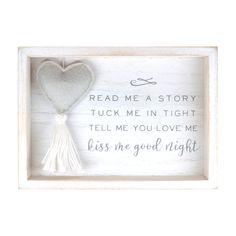 Kiss Me Goodnight Plush Heart Decorative Nursery Wall Plaque