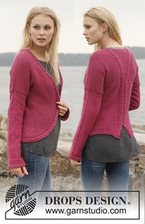 """Knitted DROPS jacket in garter st with rounded front edges and cables in """"Alpaca"""". Size: S - XXXL. ~ DROPS Design"""
