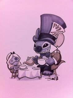 Disney's Stitch and Scrump as the Mad Hatter and Alice. Would love this as a tattoo in different colours! With Lilo as Alice Disney Pixar, Arte Disney, Disney And Dreamworks, Disney Love, Disney Magic, Disney Characters, Punk Disney, Lilo Stitch, Lelo And Stitch