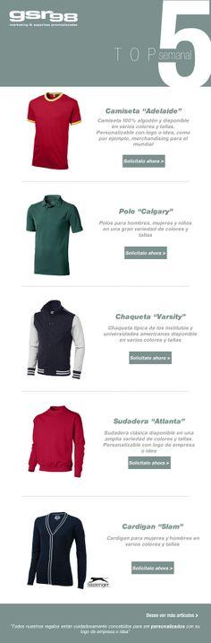 Ya está aquí Top 5 de esta semana. Hoy especial #ropa para uso personal o para #merchandising http://www.regalodeempresagsr98.es/mail/18-03-14/