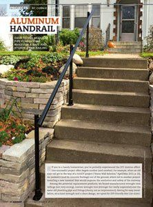 How to Install an Outdoor Aluminum Handrail - Handyman Club - Scout Porch Handrails, Exterior Stair Railing, Stair Railing Kits, Outdoor Stair Railing, Stair Handrail, Handrail Ideas, Pipe Railing, Iron Handrails, Aluminum Handrail