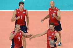 2012 Men's USA Volleyball Team- Donald Suxho, Matthew Anderson, Russell Holmes and William Priddy.