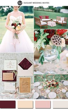 Burgundy, peach, blush pink and a hint of sage& Ivory.