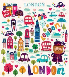 Illustrations with London symbols by MoleskoStudio on @creativemarket