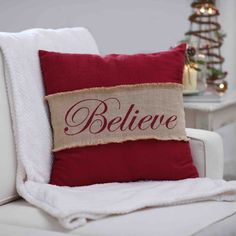 Let your home get swept away by the magic and wonder of Christmas with our Red Believe Burlap Pillow. This cozy pillow adds charm to your Christmas decor. Royal Christmas, Burlap Christmas, Christmas Pillow, Cozy Christmas, Christmas Ideas, Christmas Crafts, Christmas Countdown, Holiday Fun, Christmas Time