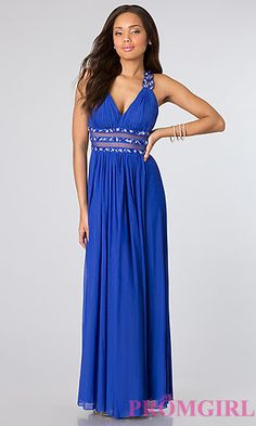 Sleeveless Ruched V-Neck Dress at PromGirl.com this is my prom dress!!!