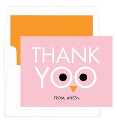 Pink Thank Yoo Foldover Note Cards