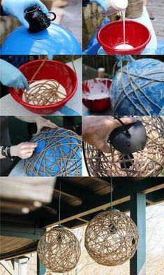 Rope Crafts, Diy Home Crafts, Easy Diy Crafts, Diy Arts And Crafts, Decor Crafts, Diy Room Decor, Yarn Balloon, Creation Deco, Handmade Home