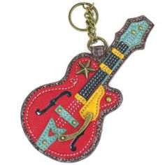 Chala Coin Purse / Key Fob (Guitar): Measures x x Zippered compartment on back for coins spring snap lock into any purse and handbag -Quantity One Key-fob Guitar Keys, Women's Wristlets, Animal Bag, Handbag Stores, Crossbody Tote, Leather Purses, Leather Bag, Leather Craft, Leather
