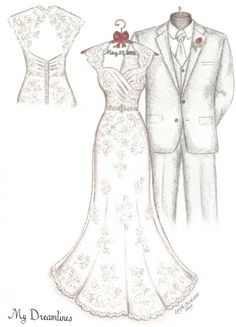 Wedding gift to your bride. Take her breath away and be her hero...her wedding dress sketch with your suit too! http://www.mydreamlines.com/how-it-works/photo-gallery/