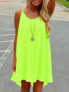 Neon Green Spaghetti Strap Hollow Shift Dress