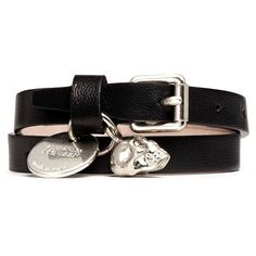 Alexander Mcqueen Skull charm double wrap leather bracelet ($180) ❤ liked on Polyvore featuring jewelry, bracelets, black, bracelet charms, leather bracelet, charm bracelet, skull bracelet and black bracelet