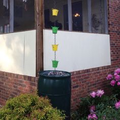 Another view of my new rain chain and rain barrel