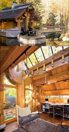 The roof of the log cabin is carried by massive abstract totem pole figures intended as a tribute to the spirit of the forest. #cabins #totem #architecture