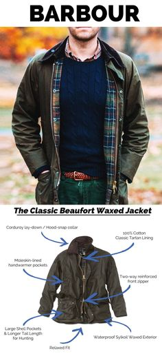The Beaufort Waxed Jacket is one of the iconic pieces that helps define Barbour as a brand. The Beaufort is a lifetime investment that never wears out or goes out of style. Barbour Jacket Mens, Barbour Beaufort Jacket, Parka, Barbour Clothing, Wax Jackets, Herren Outfit, Best Mens Fashion, Gentleman Style, Mens Clothing Styles