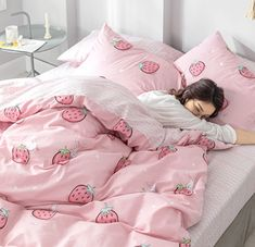 Bunny Strawberry Bedding Set Notice: The bedding set has a duvet cover with no filling,a bed sheet and pillowcase ●Size:tips the size of the quilt to choose the bedding set. Neutral Bed Linen, Black Bed Linen, Cute Bedding, Bedding Sets, Cotton Bedding, Strawberry Beds, Girls Bedroom, Bedroom Decor, Ikea Bedroom