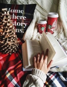 Cozy clothes,coffee and a good book=a good way to relax on a cold winters day