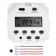 JVR Timer Switch Programmable Digital 12 Volt DC/AC Battery Powered for Solar Lights Chicken Coop Door with 4 Female Wire Terminal Cables Solar Battery, Solar Lights, Automatic Chicken Coop Door, Modem Router, Best Chicken Coop, Digital Timer, Street Lamp, Dc Ac, Save Energy