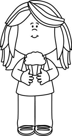 Black White Girl Holding A Cupcake Clip Art