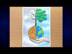 Drawing Pictures Of Save Nature - - Nature Drawing Pictures, Simple Nature Drawing, Easy Scenery Drawing, Pictures To Draw, Drawing Pics, Drawing Ideas, Mother Earth Drawing, Save Earth Drawing, Save Water Poster Drawing