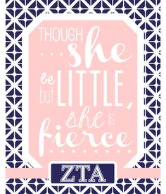 DELTA GAMMA pink and blue - Though She be but Little, She is Fierce - sorority sisters - gift for Little
