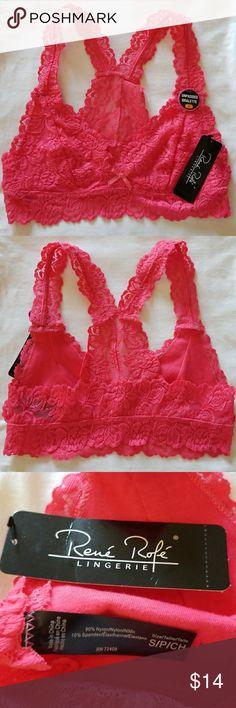 Dazzle Pink Bralette by Rene Rofe Beautiful pink, unpadded, racer back lace bralette!! Rene Rofe Intimates & Sleepwear Bras