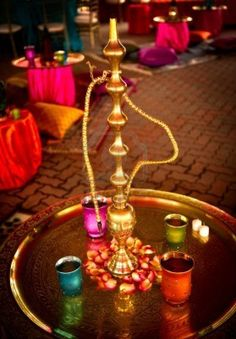 Image Of A Hookah At A Beautifully Decorated Indian Wedding