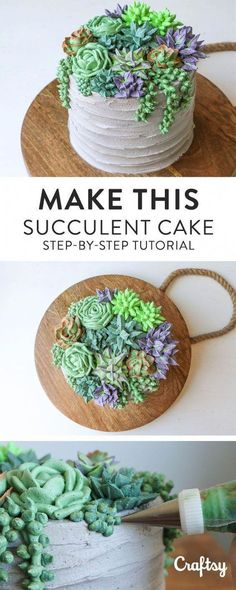 Make a jaw-dropping succulent cake! This step-by-step tutorial will teach you to… Make a jaw-dropping succulent cake! This step-by-step tutorial will teach you to pipe five different kinds of succulents with buttercream. Cake Decorating Frosting, Creative Cake Decorating, Cake Decorating Techniques, Cake Decorating Tutorials, Creative Cakes, Decorating Ideas, Cupcakes Succulents, Buttercream Designs, Buttercream Flowers Tutorial