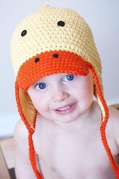 Just Ducky Earflap Hat Crochet Pattern Permission by adrienneengar, $4.99