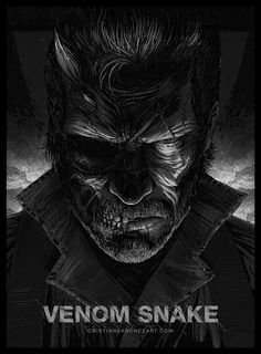 """Venom Snake"" by Cristian Sánchez Art on tumblr. This is an amazing piece of Metal Gear Solid art. It really depicts the duality of Big Boss in Metal Gear Solid V: The Phantom Pain."