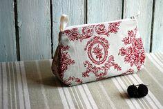 French zipper pouch roses cosmetic case toile de by AuFildAntan