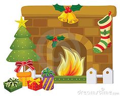 cartoon christmas fireplace