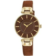 Anne Klein Women's Rust Suede Strap Watch 34mm Ak-2218GPRU ($65) ❤ liked on Polyvore featuring jewelry, watches, gold, gold tone jewelry, anne klein jewelry, anne klein watches, anne klein and gold-tone watches